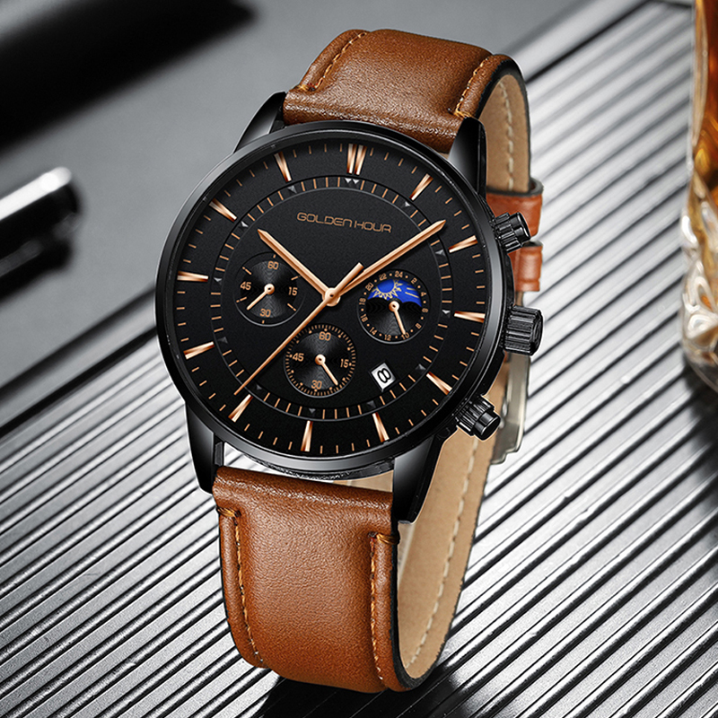 GOLDENHOUR Men's Watch Top Brand Luxury Fashion Quartz Watch Men Leather Waterproof Sports Wrist Watch Male Relogio Masculino