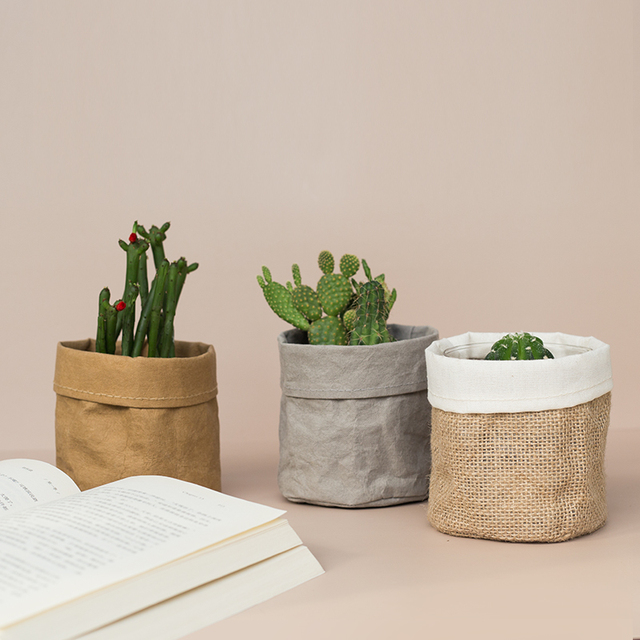 Free Shipping Kraft Paper Flower Pot coats Office Creative Desktop Plant Bag Cosmetic storage bag Home Decoration Accessories