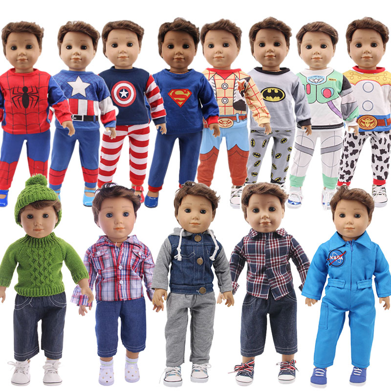 Male Doll 2Pcs Set&Pajamas Hero Superman For 18 Inch American&43Cm Born Baby Doll Clothes, Our Generation, Girl's Boy's Toy Gift