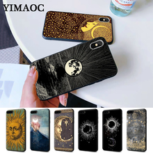 Sun and moon Black Silicone Case for iPhone 5 5S 6 6S Plus 7 8 11 Pro X XS Max XR