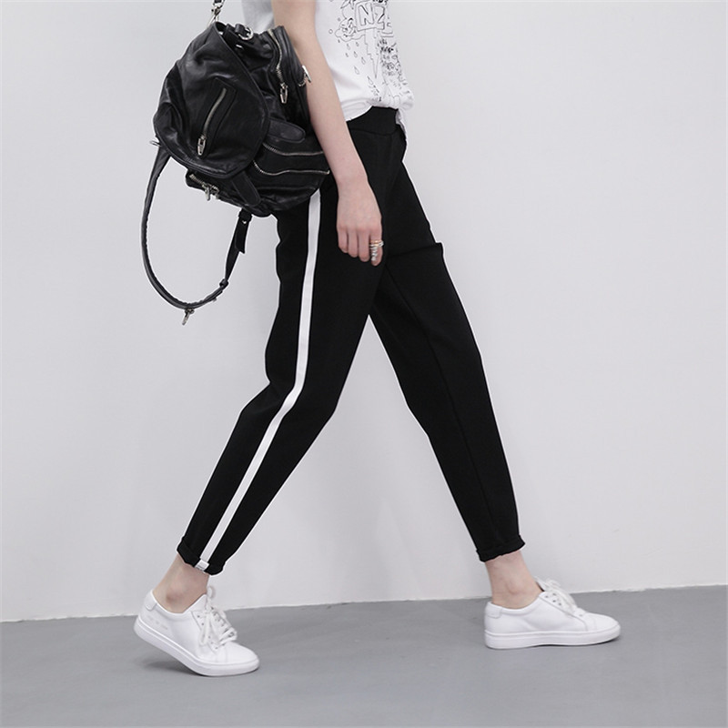 Spring Sweatpants Women Casual Harem Pants Loose Trousers For Women Black Striped Side Sweat Pants Female Plus Size S-XXL