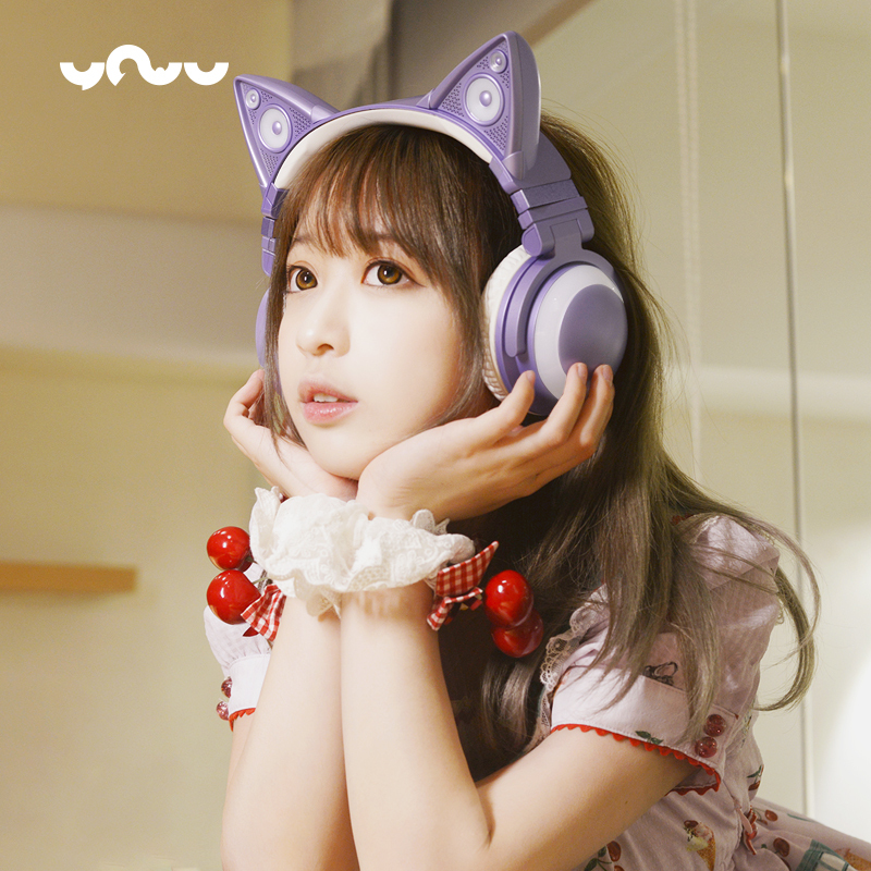 New Japanese Style YOWU <font><b>Cat</b></font> ears Two dimensions Wireless <font><b>bluetooth</b></font> headset over ear Luminescence music game <font><b>headphone</b></font> for girl image