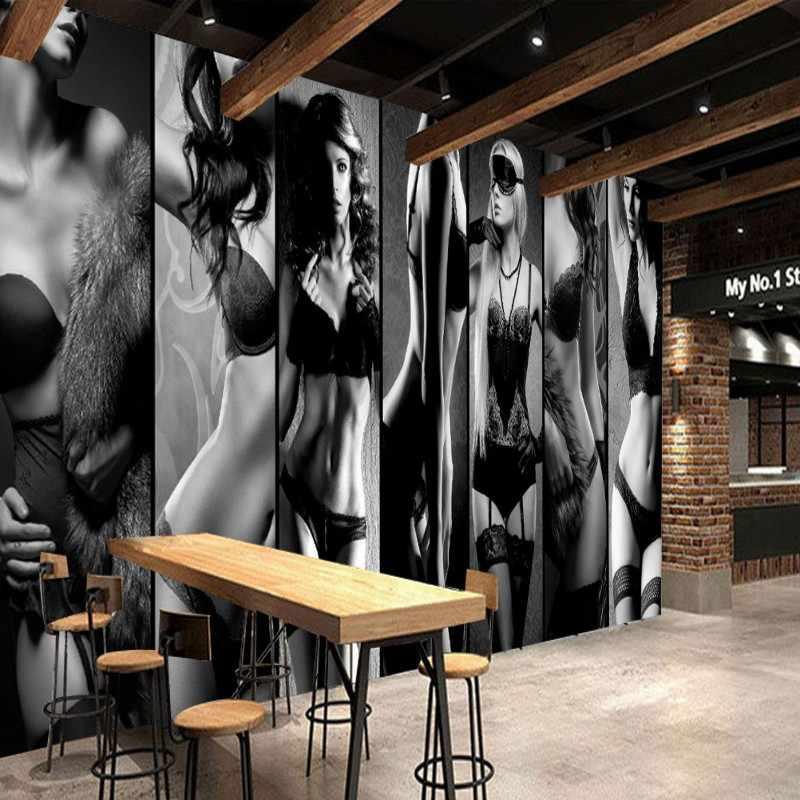 Papel pintado moderno y nuevo de la nave papel pintado de moda chica blanco y negro ropa estilo Collage tienda fondo de pantalla Mural