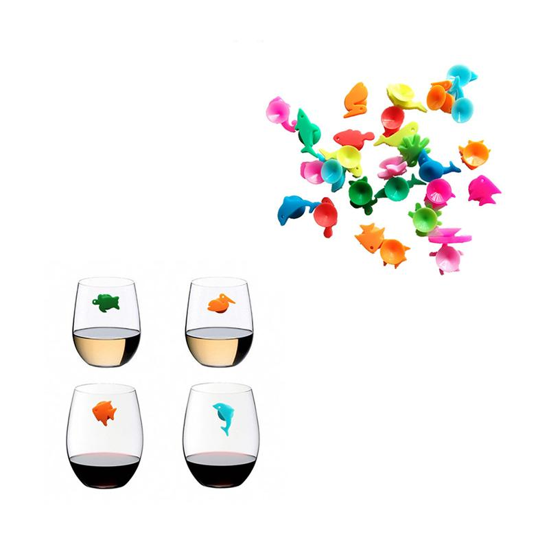 12pcs Silicone Marine Animals Wine Glass Marker Creative Drinking Cup Identifier Party Cup Sign (Mixed Colors)
