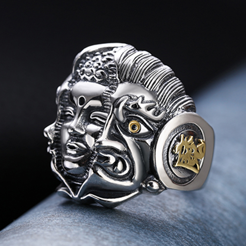 Vintage Men's Buddha Ring Tokyo Ghoul Dark Souls Buddhism Rings For Stranger Things Man Religious Tibetan Knuckles 2021 Trend