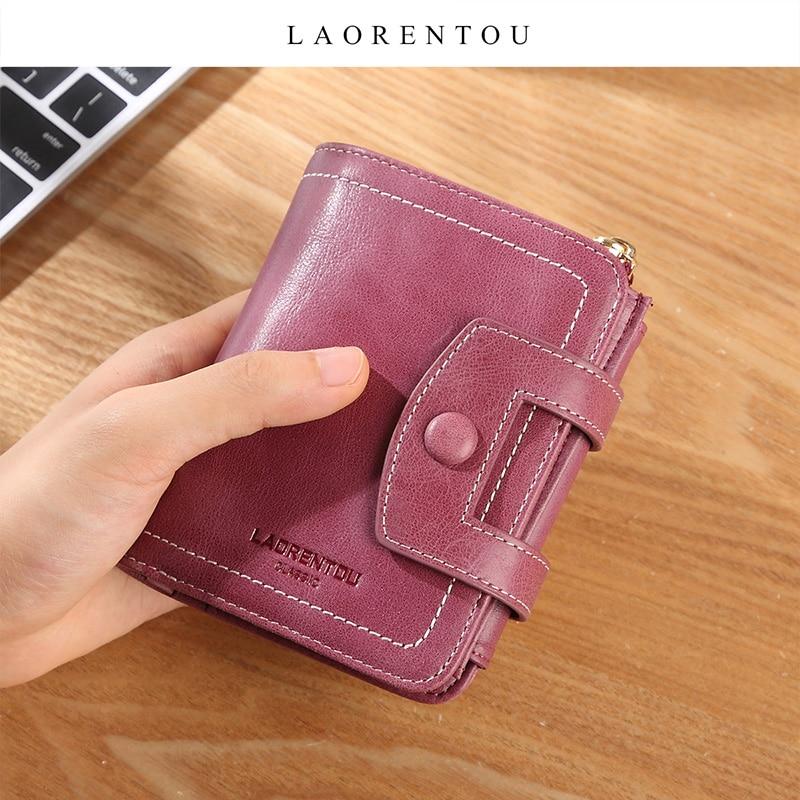 LAORENTOU Genuine Leather Women Wallet Zipper & Hasp Coin Pocket Lady Card Holder Female Money Bag Coin Case Short Retro Purse