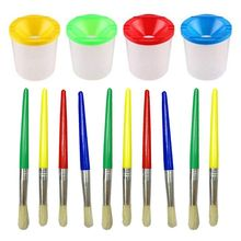 14 Pcs No Spill Paint Cups Set with Lids and Assorted Paint Brushes for Kids and Adults Watercolor Acrylic Art Class