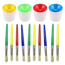14 шт краска чашки без разлива набор с крышками и Ассорти кисти