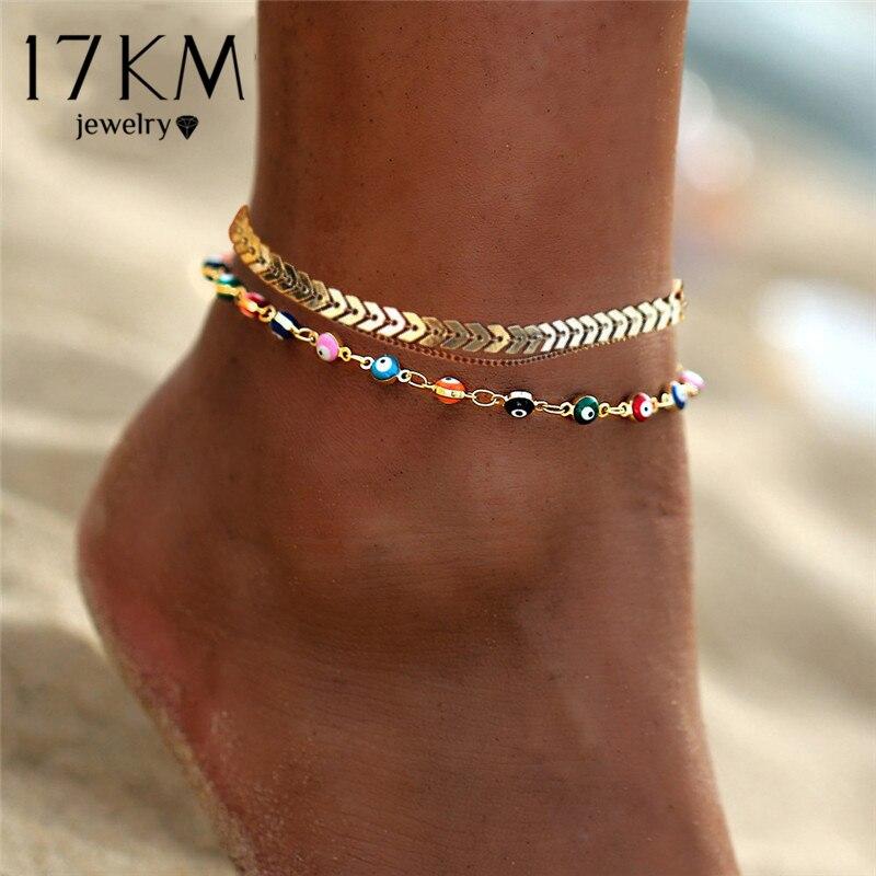 17 קילומטר בוהמי צבעוני חרוזים Anklets נשים זהב צבע קיץ אוקיינוס חוף קרסול צמיד רגל רגל תכשיטי שרשרת 2021 חדש