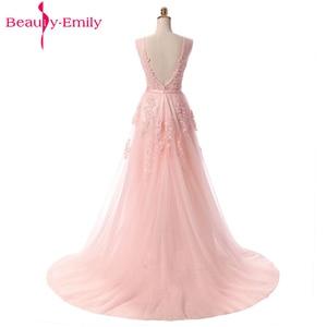 Image 5 - Beauty Emily Long Elegant Evening Dresses Backless A Line Formal Party Dress Lace Up Prom Gown Vestido De Festa Plus Size 2020