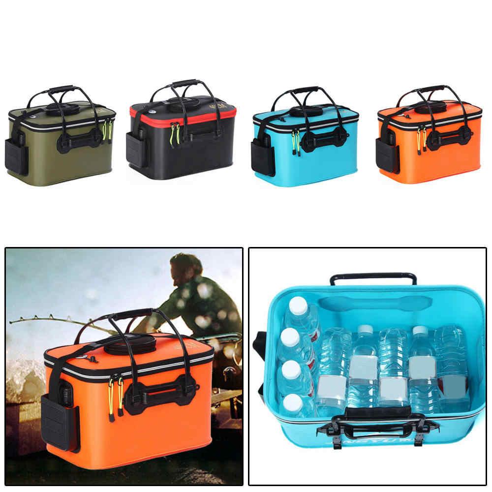 EVA Fishing Boxes Bucket Tackle Storage Plastic Live Bait Folding Zip 5 Sizes