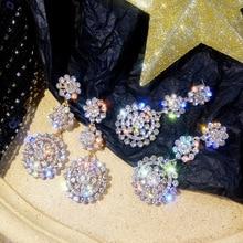 Round Flash Drill Flower Earrings 2019 New Korean  Personality jewelry dangle bohemian crystal earrings