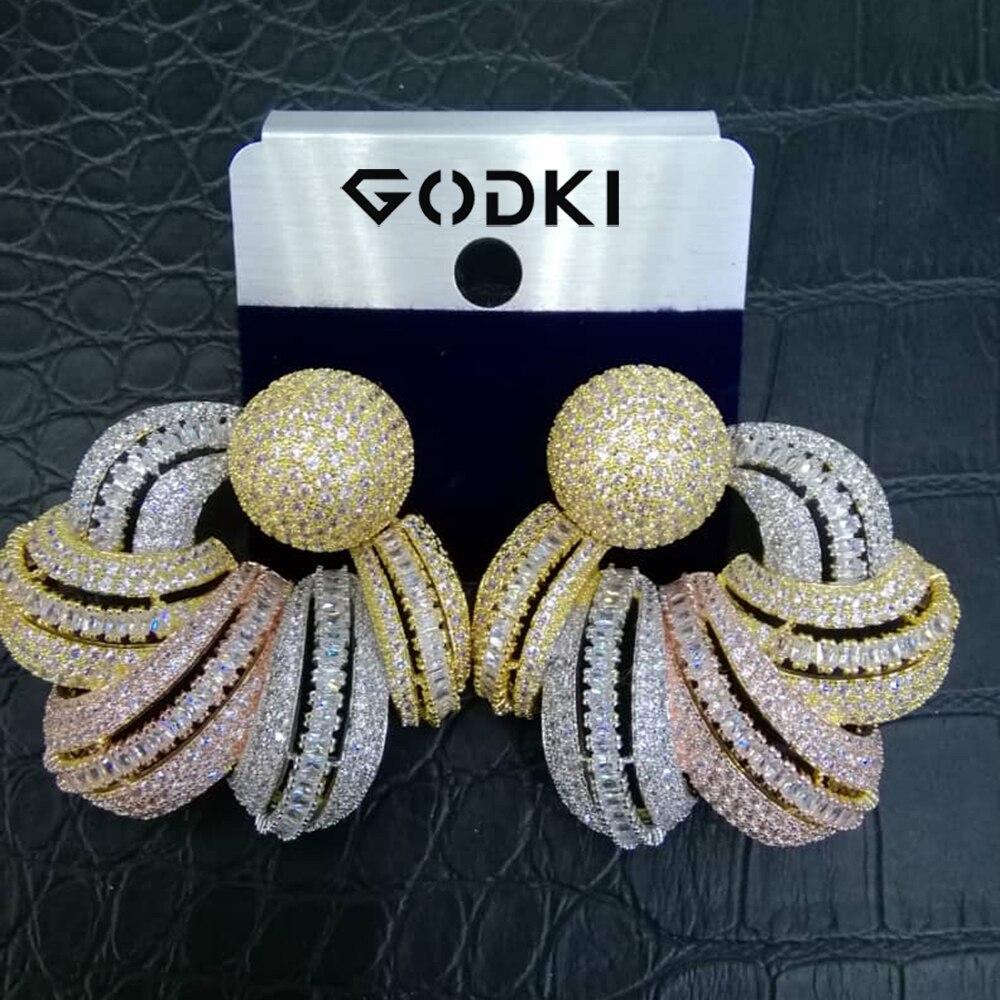 GODKI luxe afrique boucle d'oreille pour femmes mariage indien mariée bijoux pleine cubique Zircon boucles d'oreilles pendientes mujer moda