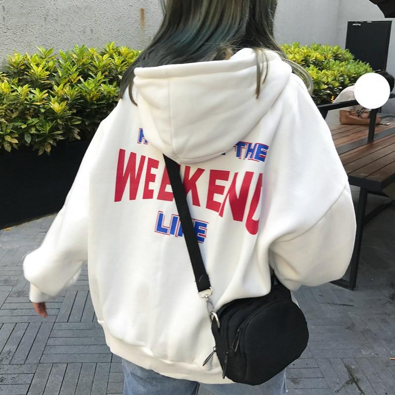 Hoodies Women Letter Printed Loose Hooded Trendy Pockets Plus Velvet Sweatshirts Womens Korean Style Harajuku Long Sleeve Hoodie