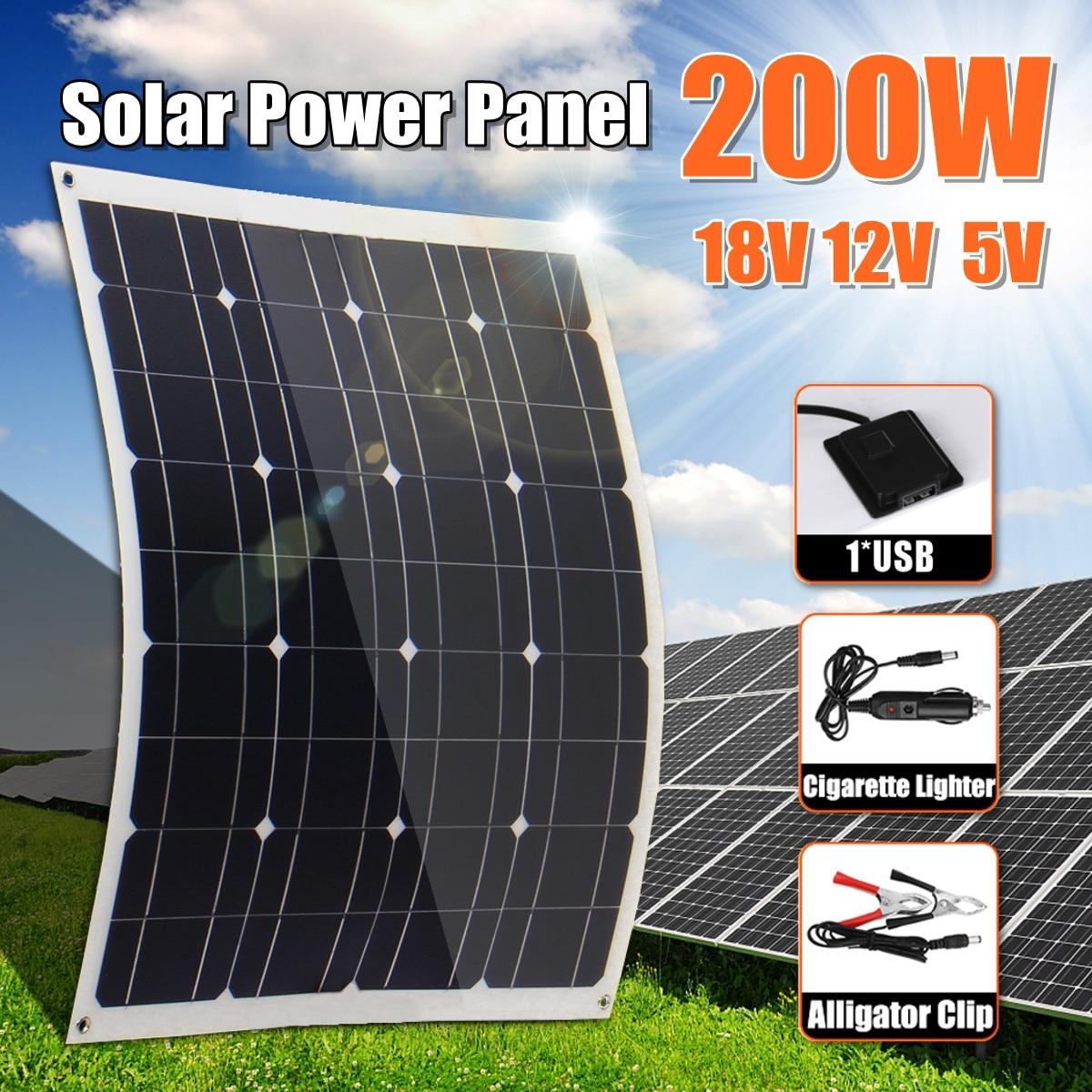 Nuevo Panel Solar de 200W 18V 5V Flexible de silicio monocristalino con controlador de 10/20/30A para batería Solar al aire libre