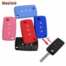 OkeyTech 3 düğmeler yumuşak silikon kauçuk araba anahtar kapağı kılıfı kabuk cilt koruyucu Fob Citroen C2 C3 C4 Picasso Xsara C5 c6 C8