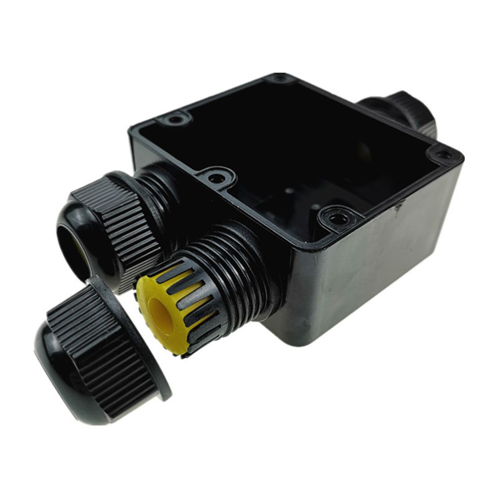3-way Junction Box Black Watertight Connection IP68 Waterproof Dustproof