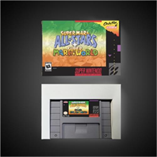 Super Mari All Stars + Super Mari World   RPG Game Card Battery Save US Version Retail Box