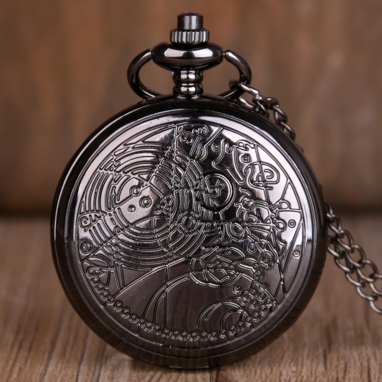 Antique Black Quartz Pocket Watch Men Women Pocket Watch With Necklace Chain Pendant Best Gifts Reloj De Bolsillo