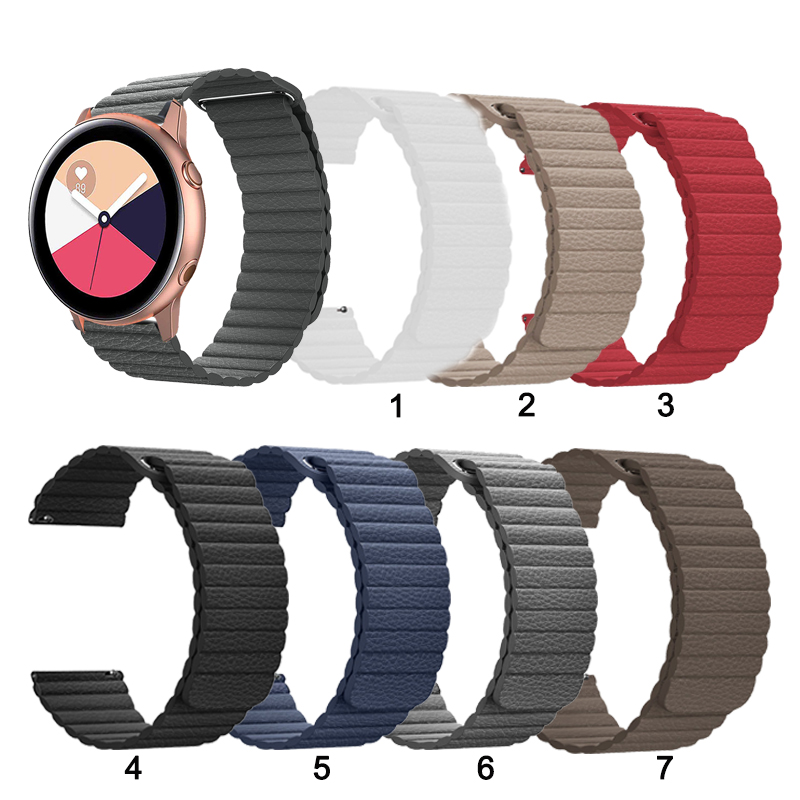 20 мм/22 мм кожаный магнитный ремешок для Samsung Galaxy смотреть активный 2 40 мм 44 для Watch3 41 мм сменный ремешок