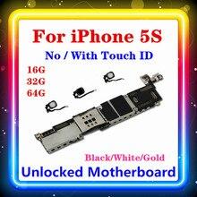 Dla Iphone 5S płyta główna, 100% dla Iphone 5S płyta główna z Touch ID/bez Touch ID 16GB 32GB 64GB
