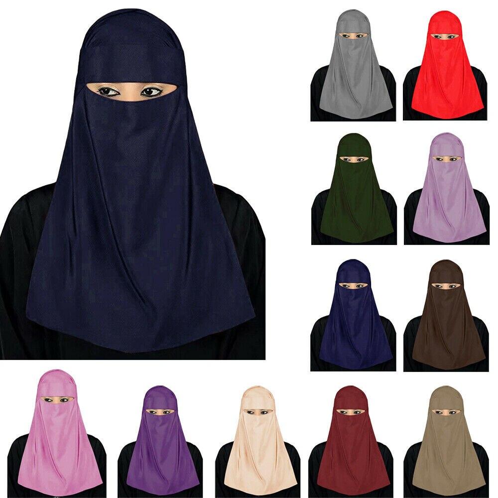 Modest Women Muslim Hijab Veil Face Scarf Islamic Burqa Niqab Nikab Headscarf Full Cover Wrap Indian Solid Color Headwear Prayer