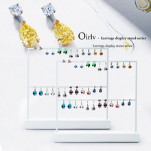 Oirlv White Metal Frame Earrings Display Stand Ear Stud Rack Holder Pendant Jewelry Display Showcase Jewelry Organizer Exhibitor