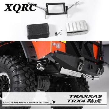 Depósito de combustible metálico XQRC y tubo de escape 1/10 RC track camión trx4 defender tubo de escape del tanque de metal