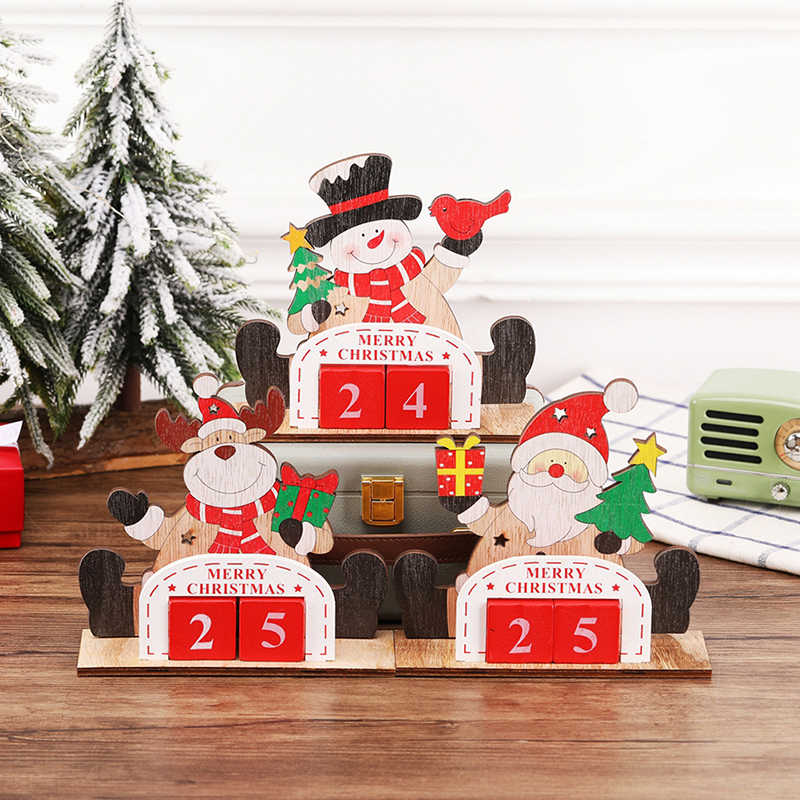 Holiday Home Ornament Decor Christmas Advent Countdown Calendar Wooden Santa Claus Snowman Reindeer Pattern With Painted Blocks