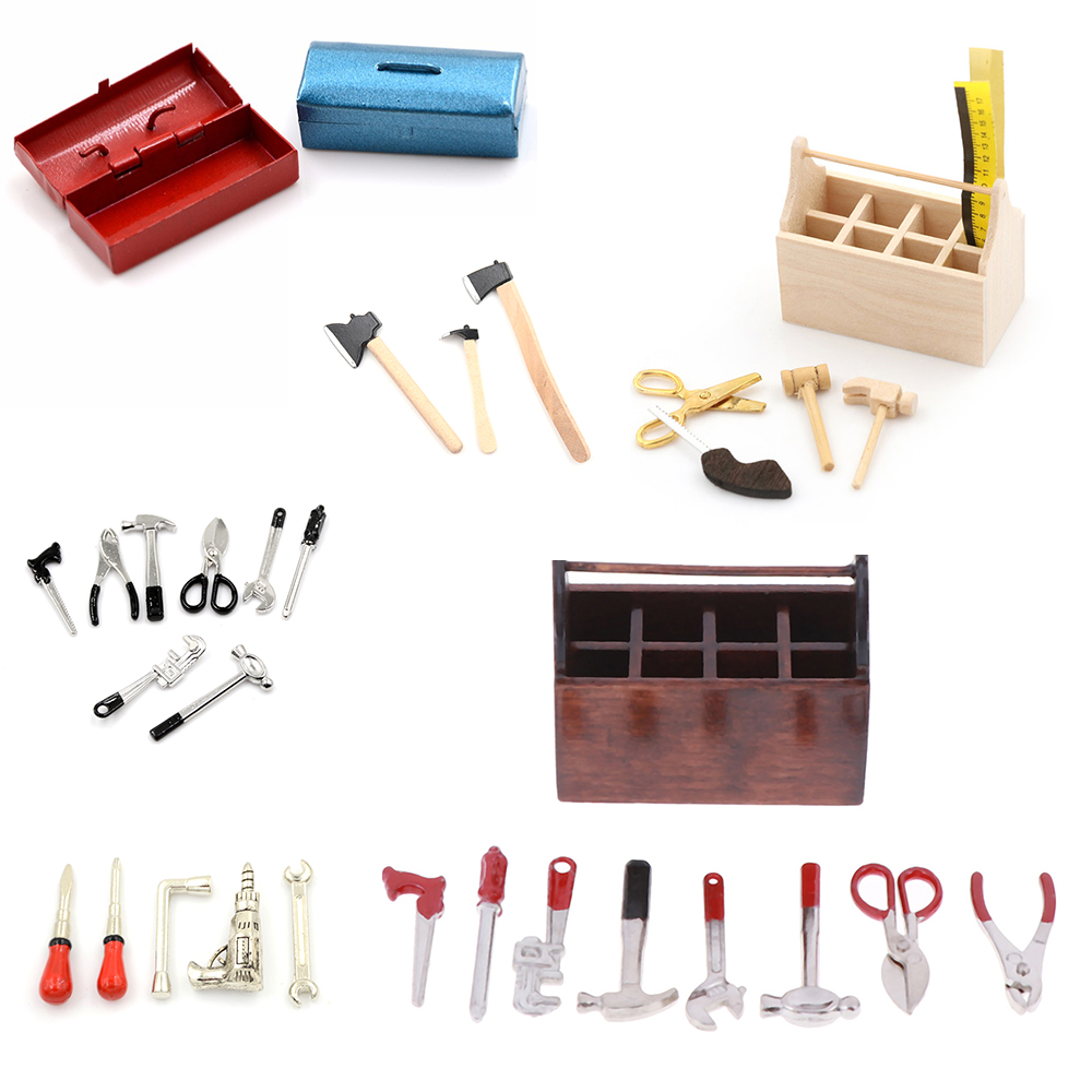 1:12 Scale Metal Tool Box Case Doll House Miniature Model Decoration Black