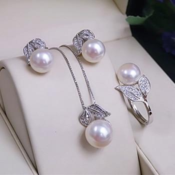 Natural Freshwater White Pearl Jewelry Set Jewelry Pearl Jewelry