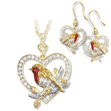 Elegant Crystal Robin Magpie Bird Pendant Necklace Earrings Lover's Gift Anniversary Jewelry Set for women(China)