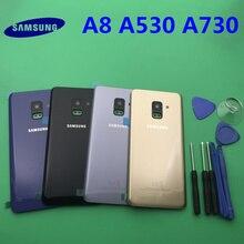 เปลี่ยนด้านหลังเดิมแผงกระจกประตูสำหรับ Samsung Galaxy A8 A8plus 2018 A530 A530F A730 A730F + เครื่องมือ