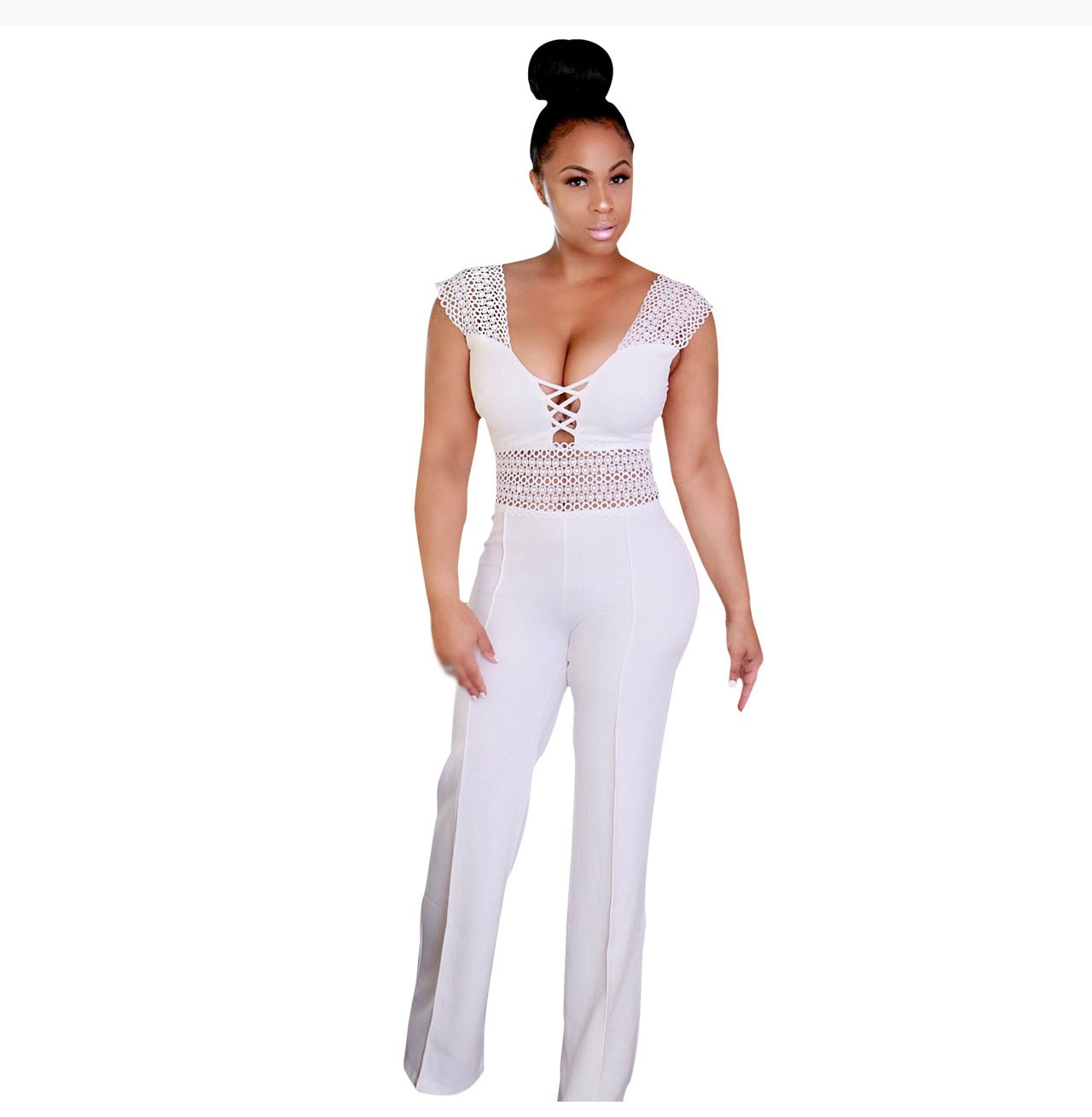 Sexy Lace Wide Leg Jumpsuit Women Sleeveless Hollow Out Patchwork Romper Elegant Slim Party Overalls