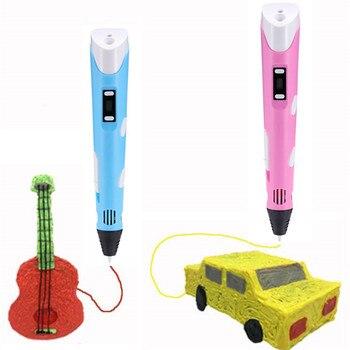 Caneta de desenho 3d quente desenho brinquedos crianças brinquedos educativos 3d caneta tela led diy 3d impressão caneta para designer crianças pintura caneta presentes
