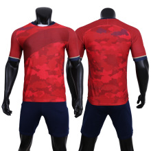 Red Soccer Jersey Sets Men Sportswear Quick Dry 100%Polyter Sports Fabric Football Uniforms
