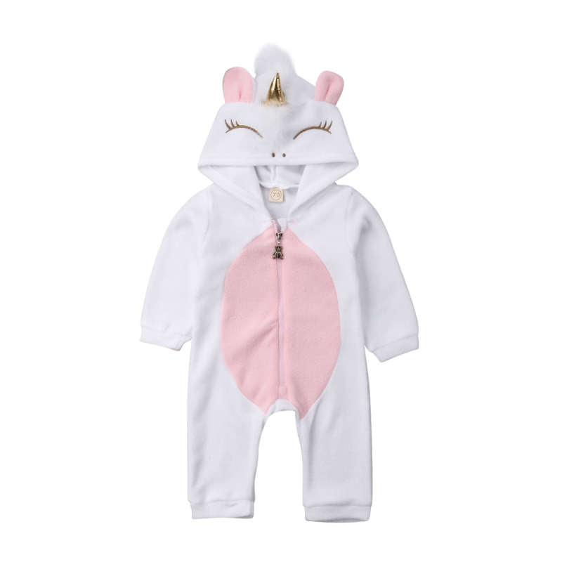 Newborn Kid Baby Girl Boys Unicorn Flannel Long Sleeve   Romper   Jumpsuit Outfit Warm Clothes Winter