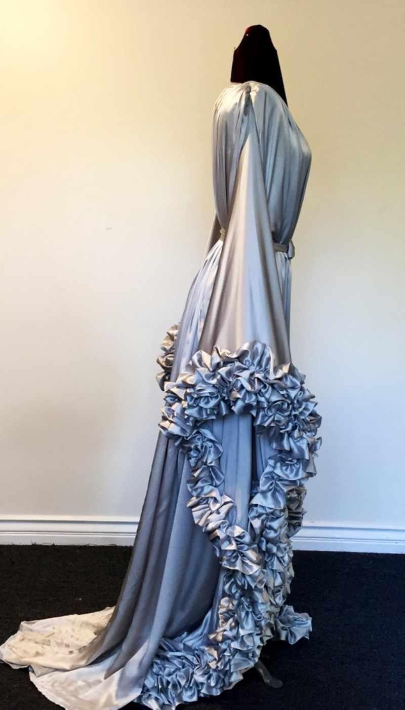 Серебристо-серый ночной халат с оборками для беременных женщин платья выпускного вечера атласные Wmen вечернее платье для беременных фотосессия Vestido ночные рубашки халат