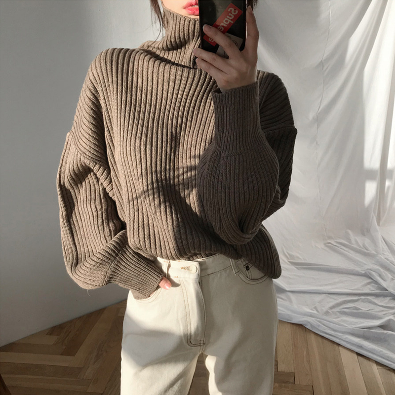 2020 Women Lantern Sleeve Autumn Sweater High Quality Knitted Turtleneck Ladies Solid Sweaters Feamale Pulllover Jumper Trui