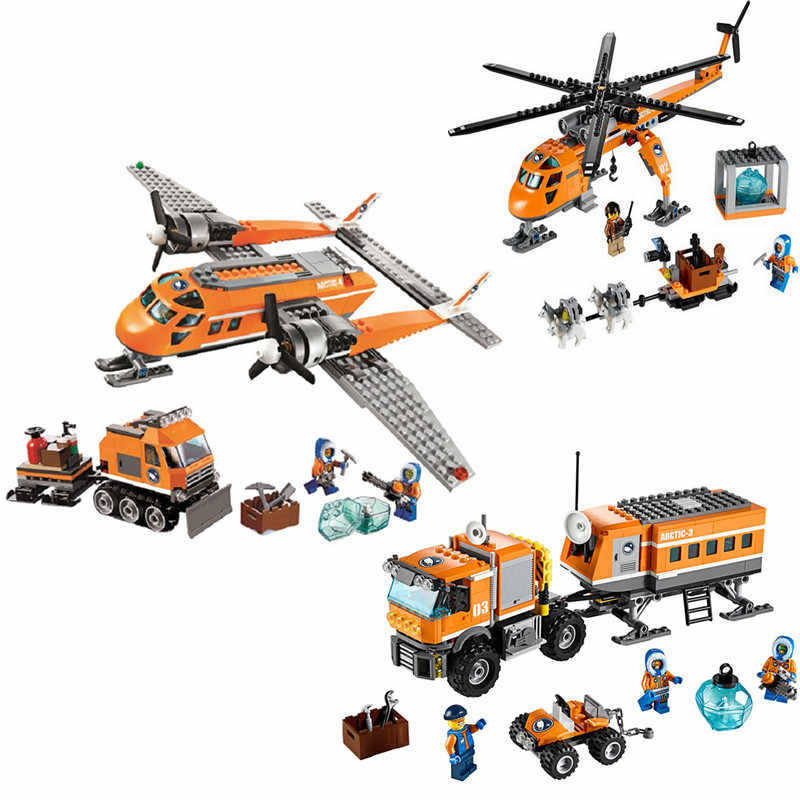 Kids Love City Arctic Helicopter Supply Plane Model Building Blocks City Educational Toys for Children Gift Model Number Scale