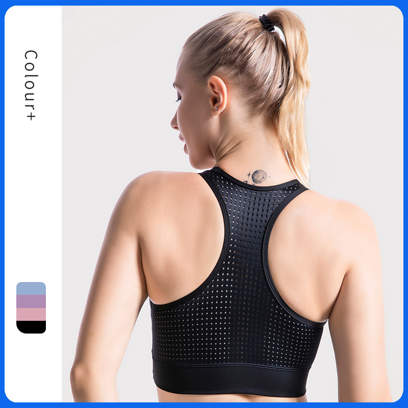 Hot selling hollowed out mesh sports underwear popular gym running shockproof breathable back Yoga bra