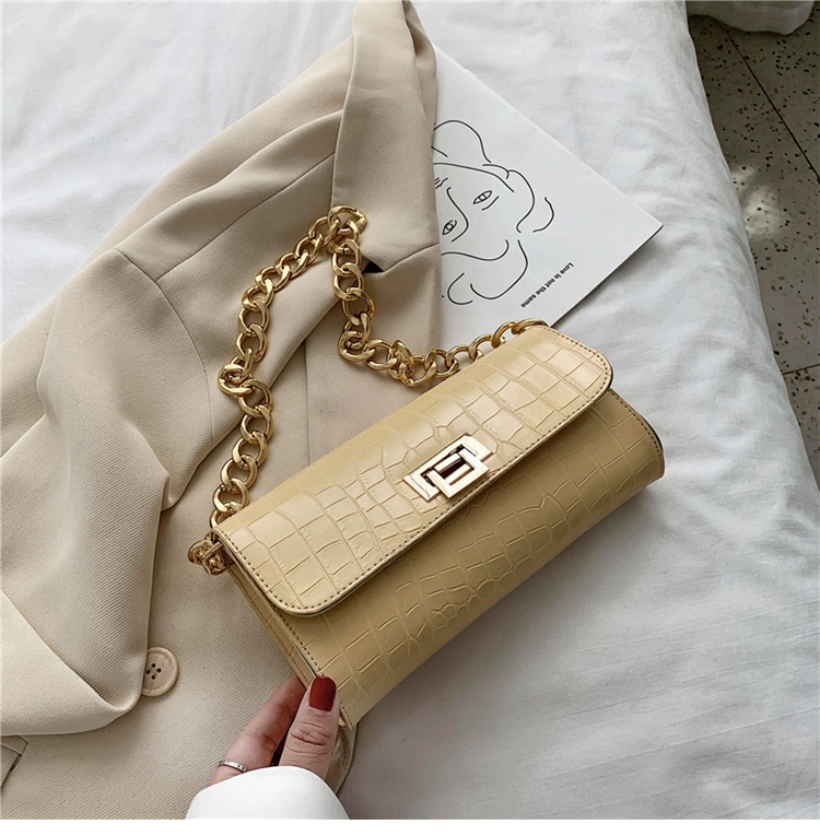 Crocodile Pattern Vintage Soild Color Small Square Bag For Women 2020 summer Handbag And Small Chain Bags Fashion Armpit Bag (16)