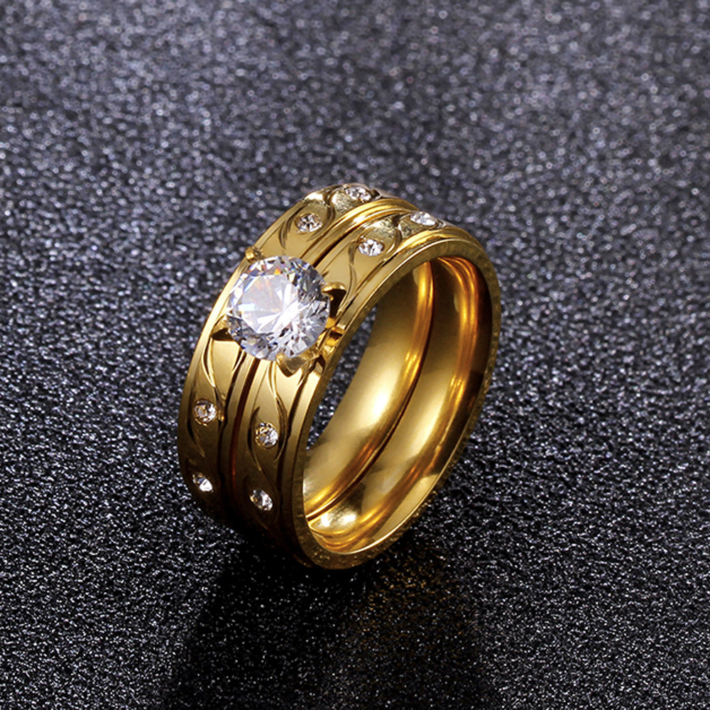FS1356 Vergoldeten Titan Stahl Ring mit Runde Große Zirkon Set Ring - 3