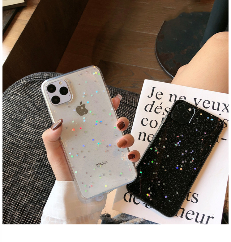 H9c48e929d1ff46d296c48b88d783b6e33 - GIMFUN Star Bling Glitter Phone Case for Iphone 11 Pro Max Clear Back Love Heart tpu Case Cover for Iphone Xr X 7 6 8 Plus 5s SE