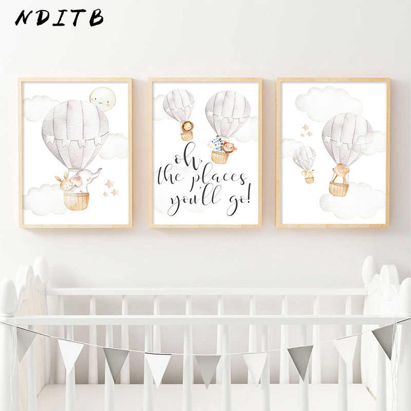 Baby Nursery Wall Art Canvas Print Child Poster Watercolor Woodland Animal Balloon Painting Nordic Kids Room Decoration Picture