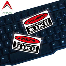 Aliauto 2 X Warning Sign Car Sticker Do Not Touch My Bike Waterproof Reflective Vinyl Decal for Motorcycle Skoda Smart,7cm*4cm(China)