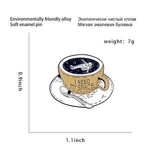 "Image 2 - משלוח זמן קפה סיכות ""אני צריך שלי חלל"" אסטרונאוט סיכות תגי תיק אביזרי סיכות תכשיטים מתנות עבור צוות חברים"