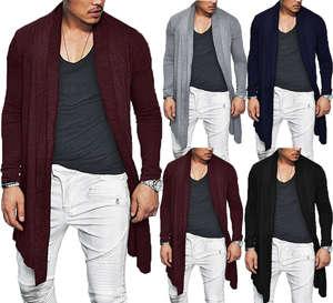 Jacket Coats Cardigan Winter Sweater Outwear Casual Mens Warm Jumper Long-Wrap