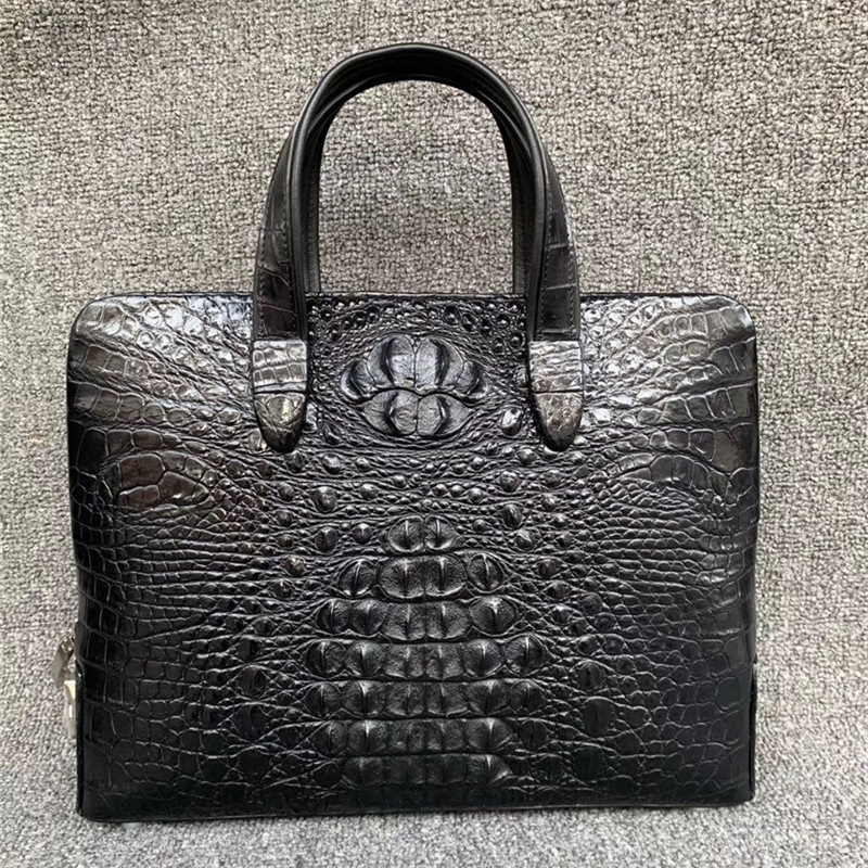 Password Lock Zipper Closure Genuine Crocodile Skin 14'' Laptop Briefcase Authentic Alligator Leather Men's Top-handle Handbag