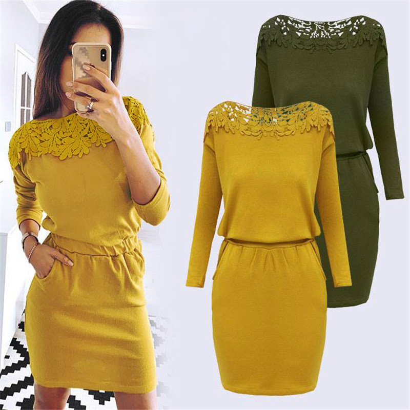 New Arrival 2019 Autumn Winter Dresses Women Slim Bodycon Lace Patchwork Dress Woman Casual Long Sleeve Straight Dress Vestidos